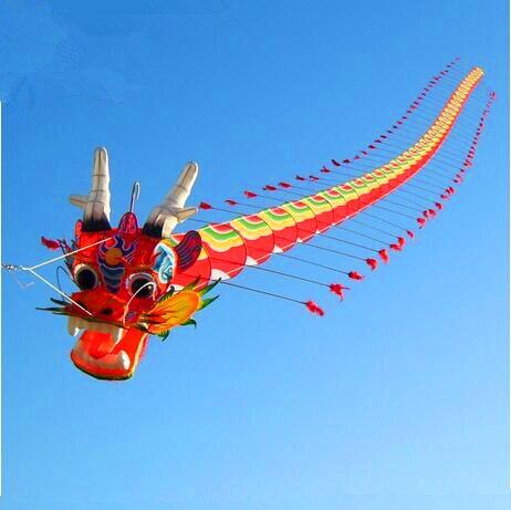 Livraison gratuite cerf-volant dragon traditionnel chinois de haute qualité 7m avec poignée ligne weifang cerf-volant grande usine de tartan hcxkite en plein air
