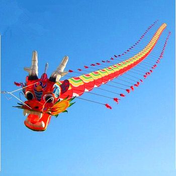 free shipping high quality Chinese traditional dragon kite 7m with handle line weifang big outdoor tartan hcxkite factory