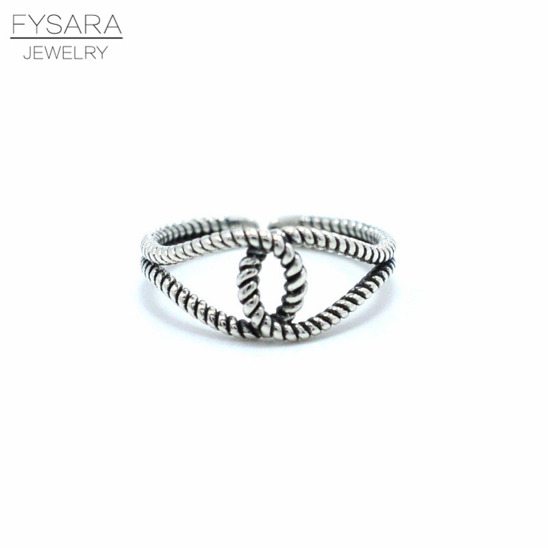 FYSARA Classic Brand Authentic 925 Sterling Silver Ring for Women Lover Jewelry Two Row Intersect Ring Cross Twist Round Ring
