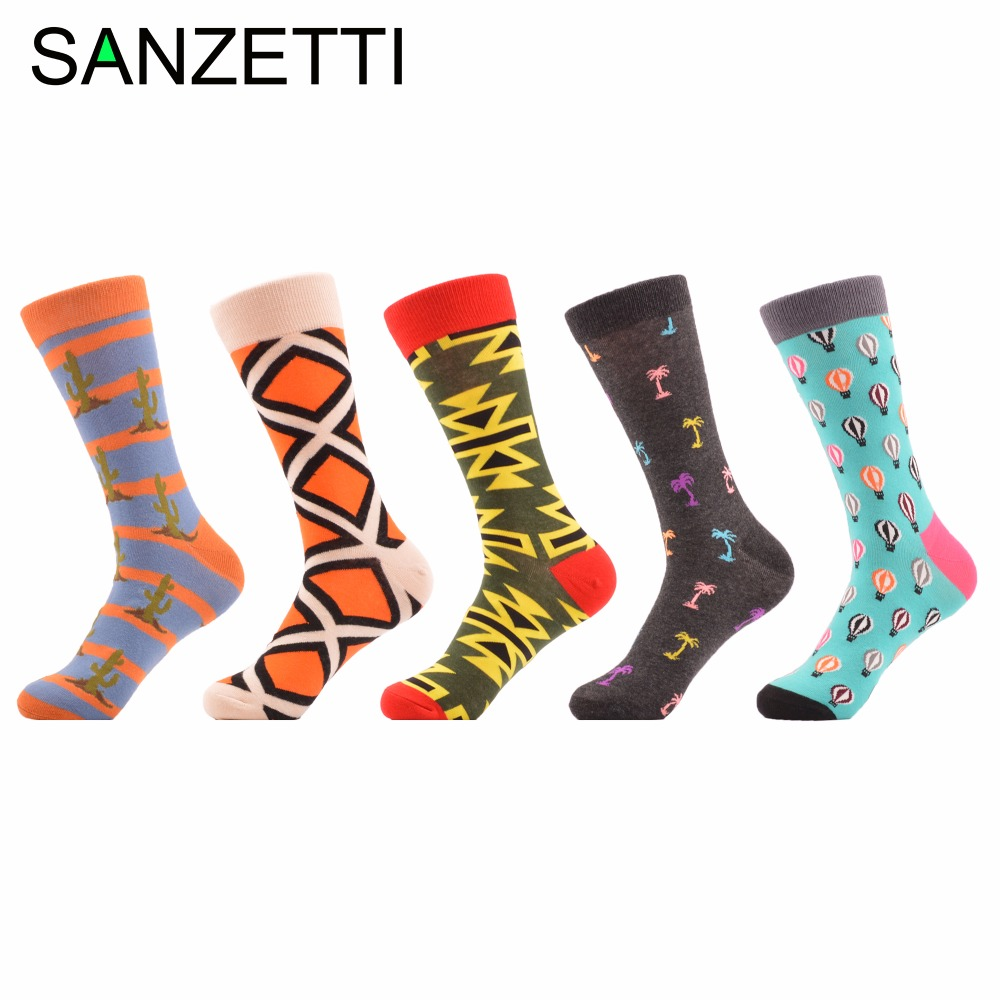 SANZETTI 5 pairs/lot Mens Colorful Funny Pattern Novelty Street Fashion Casual Socks Combed Cotton Crew Socks US Size 7.5-12
