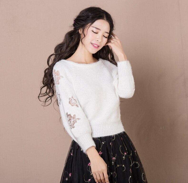 Otoño Invierno Suéter de Las Mujeres Jerseys Linterna Camisa de Manga Larga O c