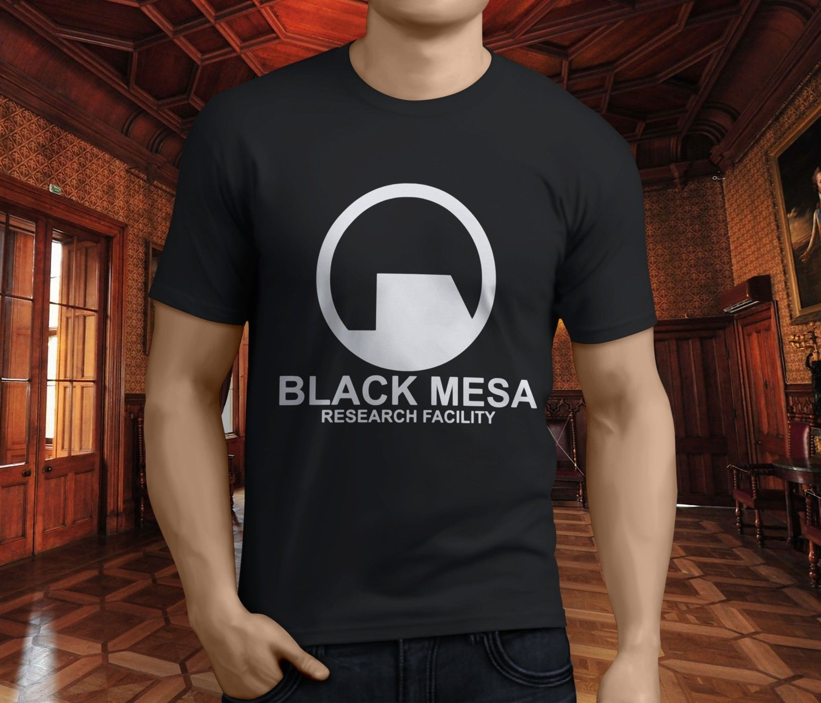 New Popular Black Mesa Research Facility Mens Black T-Shirt S-3XL