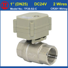 "TF25-S2-C DC24V 2 Wires 2 Way SS304 1"" Water Motorized Valve With Indicator Metal Gear Max On/Off 5 Sec For Water Application"