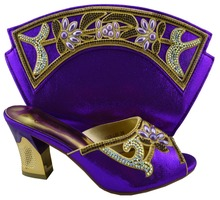 Top quality Italian ladies shoes and matching bag set,latest style African shoes and bag with rhinestones! !HZL1-19