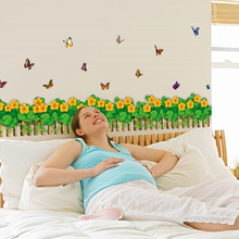 цена на SK7033 Grass waist baseboard living room wall stickers home decor small flowers butterfly waterproof removable stickers