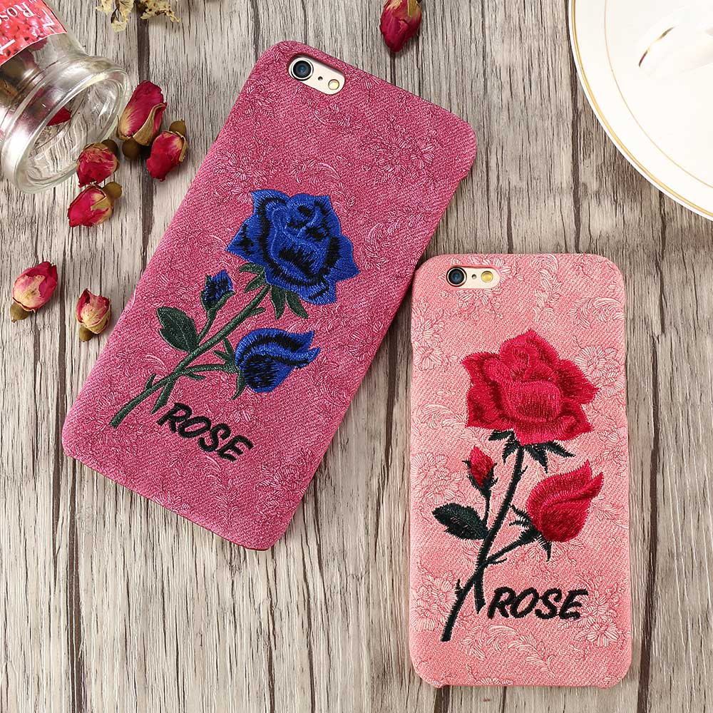 DOES Women Embroidered Rose Painting Retro Case For iPhone 6 6S 7 7 Plus 5 5S SE Back Cover Case For iPhone 6Plus 7Plus Bag