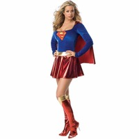 2014 Fashion New Arrival Hot High Quality Women Halloween Customs Cosplay Blue Women Superman Costumes Sexy