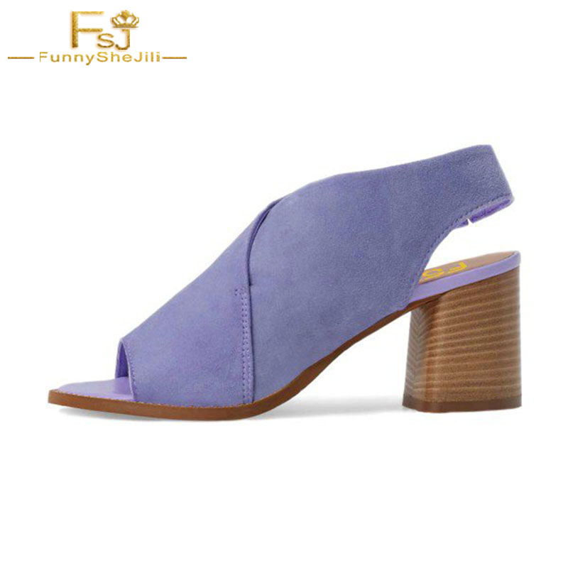 Ankle Strap Sandals Woman Shoes Flock Casual Cross-tied High Square Heel Summer 2018 Woman Shoes Elegant Large Size 4-16 FSJ xiaying smile summer woman sandals square cover heel woman pumps buckle strap fashion casual flower flock student women shoes