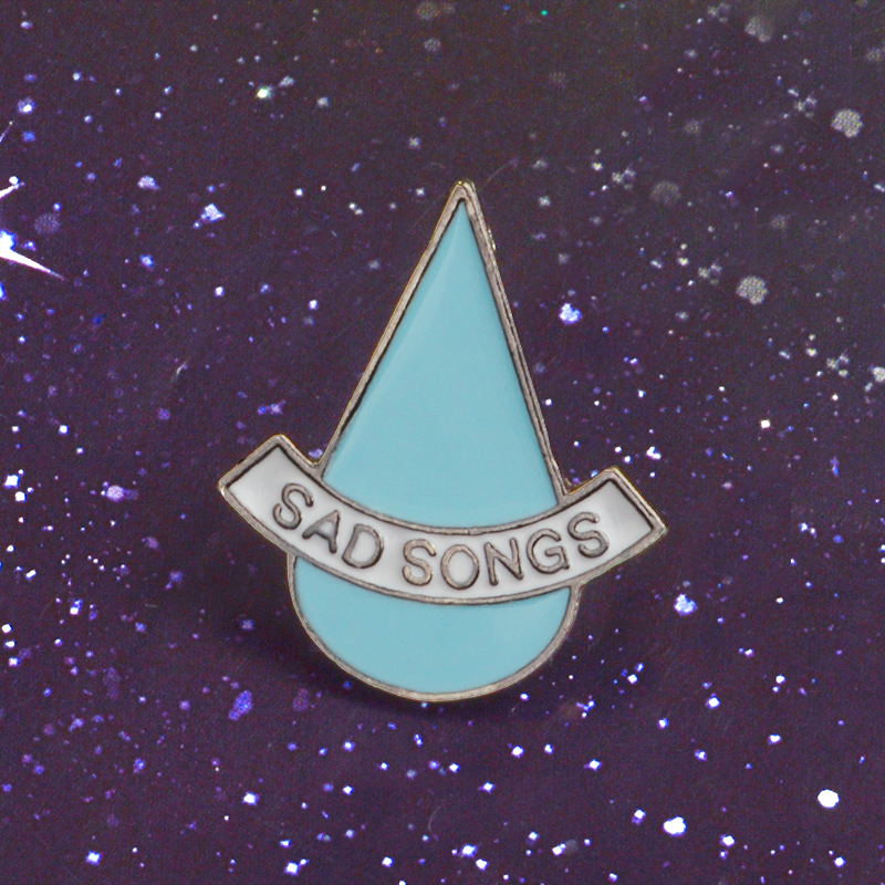 Women Men Gift Water Drop Shape Blue Tears Enamel Pin Badge Sad Song Metal Badge Brooches For Jeans Bag Accessories Jewelry image