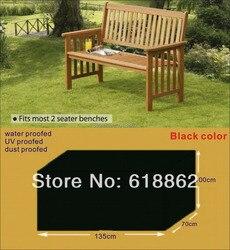 Dos plazas bancos cubierta, cubierta protectora para silla de madera, 135x70x100 cm negro muebles de jardín, cubierta impermeable