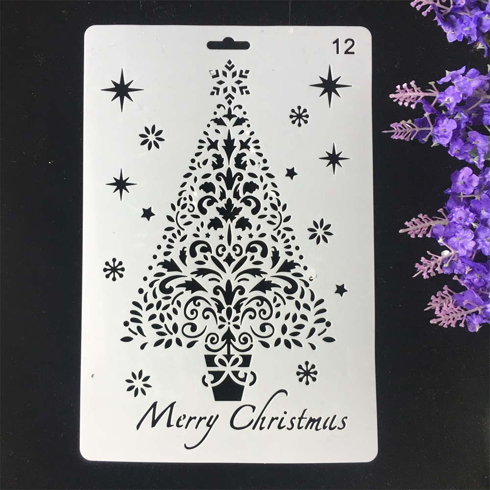 1Pcs 26cm Christmas Tree DIY Craft Layering Stencils Wall Painting Scrapbooking Stamping Embossing Album Card Template