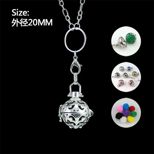 1PC 20MM Perfume Locket Ball Necklace diffuser locket pendant necklace with felt pad pendant necklace Aromatherapy