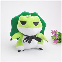cute Traveling frog small plush pendant toy doll plush keychain 12cm wj04(China)