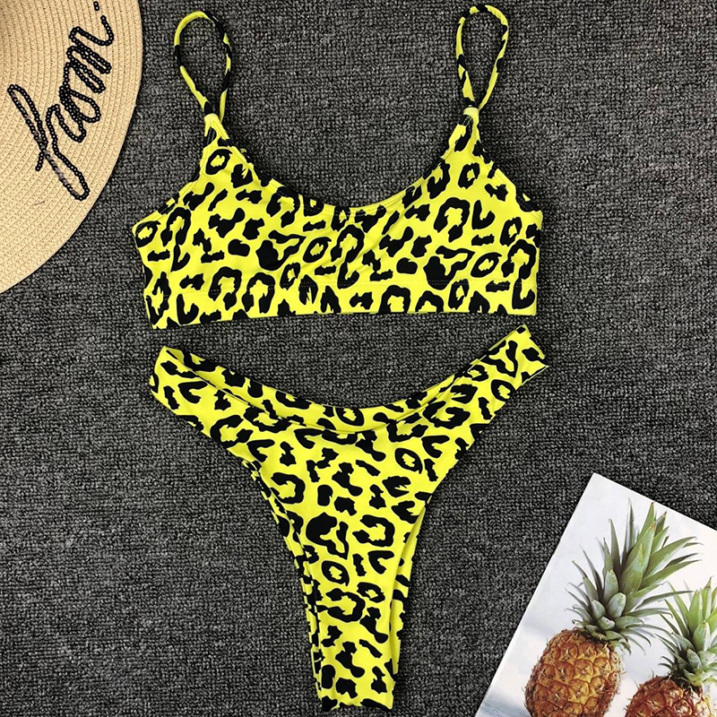 leopard swimwear women swimsuit brazilian thong bikini 2019 bathing suit women high waist bikinis push up swimming suit biquini