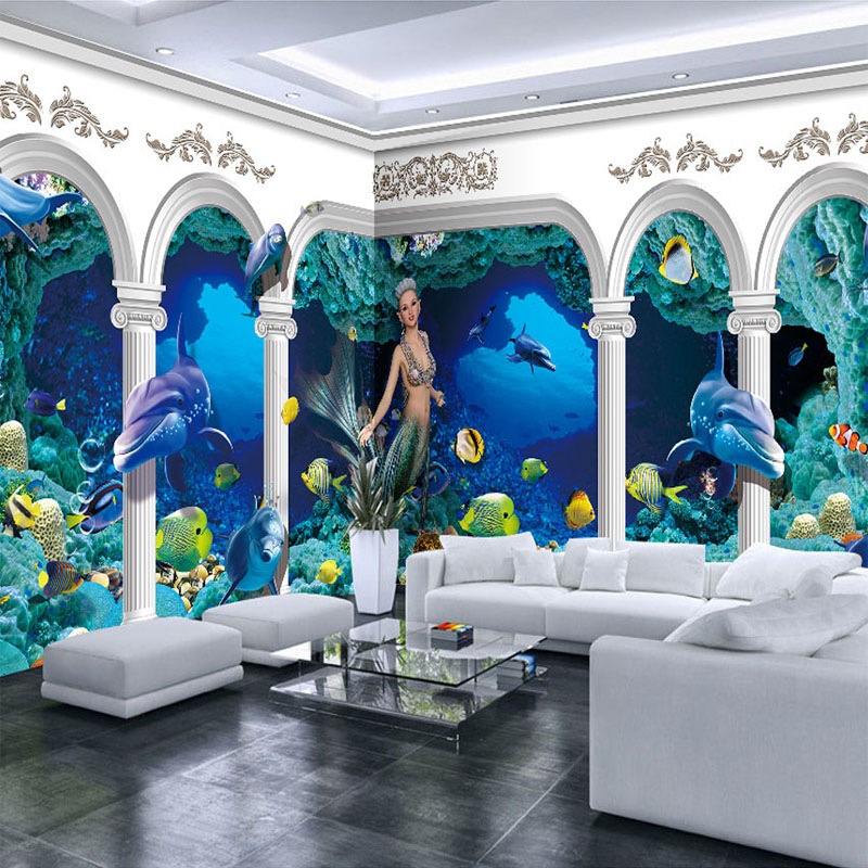 Compare prices on dolphin wall mural online shopping buy for Dolphin wall mural