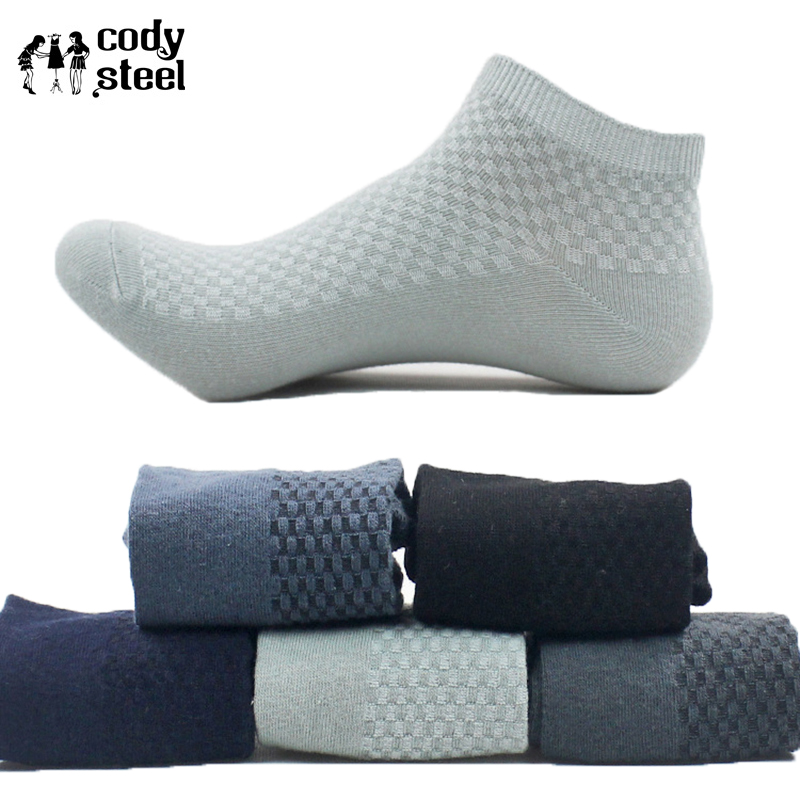 Cody Steel   Socks   Bamboo Men Fashion Small Lattice Men Brand   Socks   Classic All-Match Male Business   Socks   5pairs(Fit 39-43)