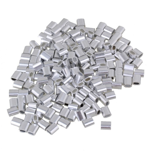 500Pcs <font><b>2mm</b></font> Sliver Aluminum Wire Rope Clip Sleeves Clamps Crimping Loop Oval Shape for <font><b>M2</b></font> Wire Rope image