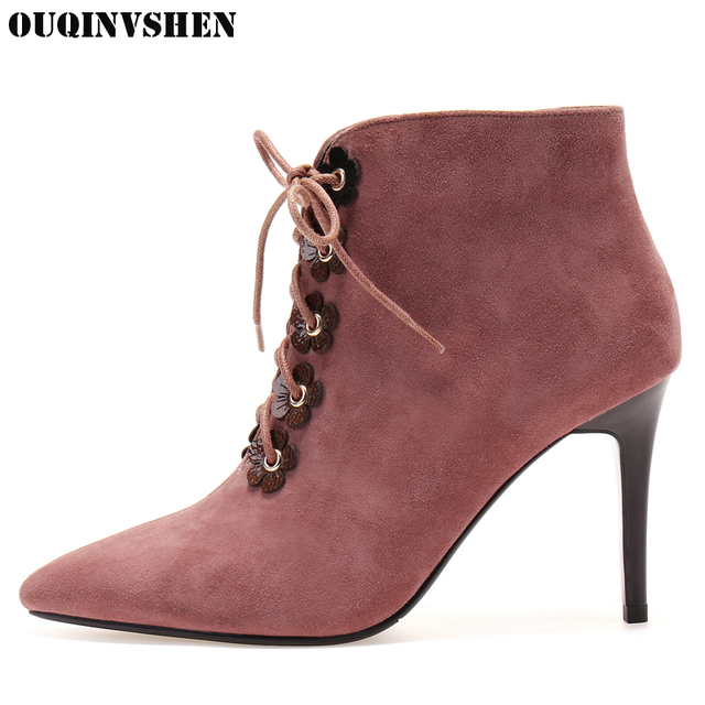 OUQINVSHEN Pointed To Thin Heels Women's Boots Casual Fashion Zipper Flower Women Ankle Boots 2017 Super High Heels Ladies Boots