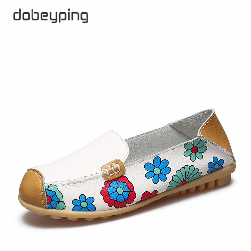 Spring Autumn Women's Casual Shoes Soft Genuine Leather Female Flats Shoe Printing Flower Ladies Loafers Slip-On Shallow Shoes