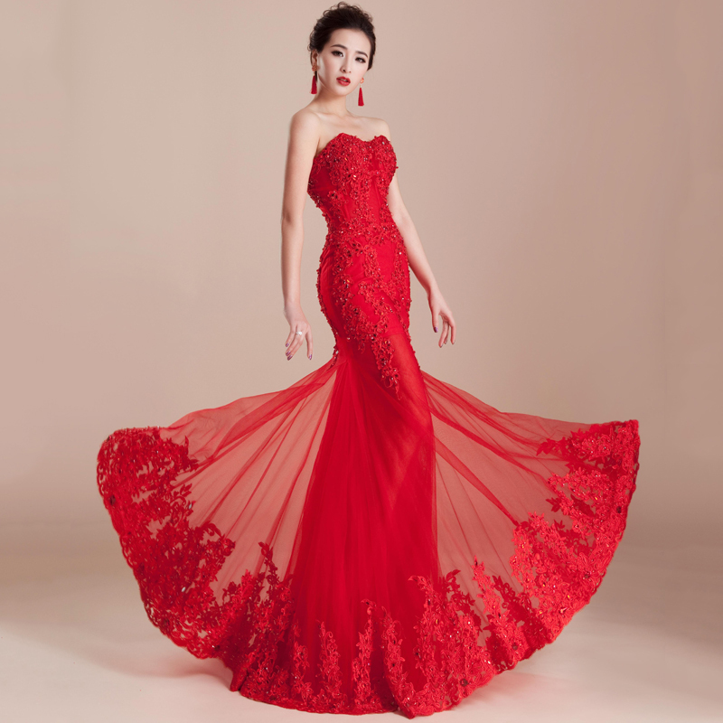 Moderno Vestido De Novia Rojo Sirena Ideas Ornamento Elaboración ...