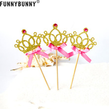 FUNNYBUNNY Cupcake Toppers Gold Glitter Crown Cake Decoration Dessert Table Birthday Party Decor funnybunny cupcake toppers gold glitter crown cake decoration dessert table birthday party decor