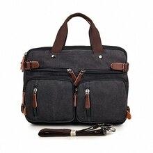 Vintage Many Pockets Crossbody Bag Canvas shoulder bag Men messenger bag men leather Handbag tote Briefcase LI-1298