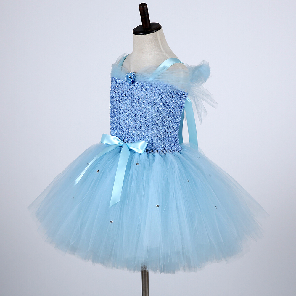 Cute Froze Child Princess Christmas Snow Queen Dresses Elza Costumes Girls Flower Pearls Party Tutu Dress (2)