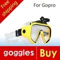 Nuevo de alta calidad gafas de buceo gopro hero 4 3 + 3 2 1 SJ4000 SJ5000 SJ6000 deporte cámara de Silicona Piscina envío gratis