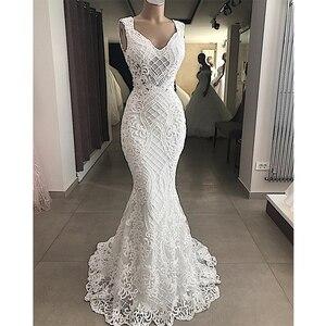 Image 2 - Robe De mariée sirène en dentelle, Robe de mariée élégante découpée, sans manches, Robe De mariée ajourée