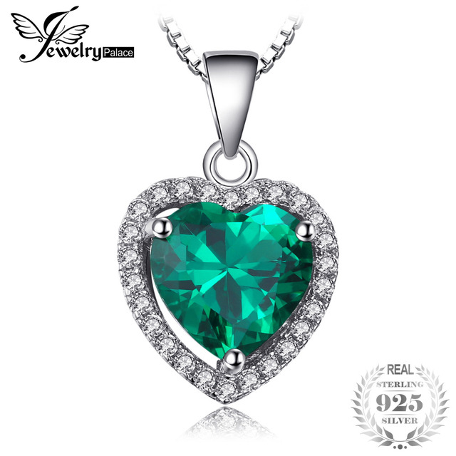 JewelryPalace Heart Of Ocean 2.4ct Green Created Emerald Love Forever Halo Neckl