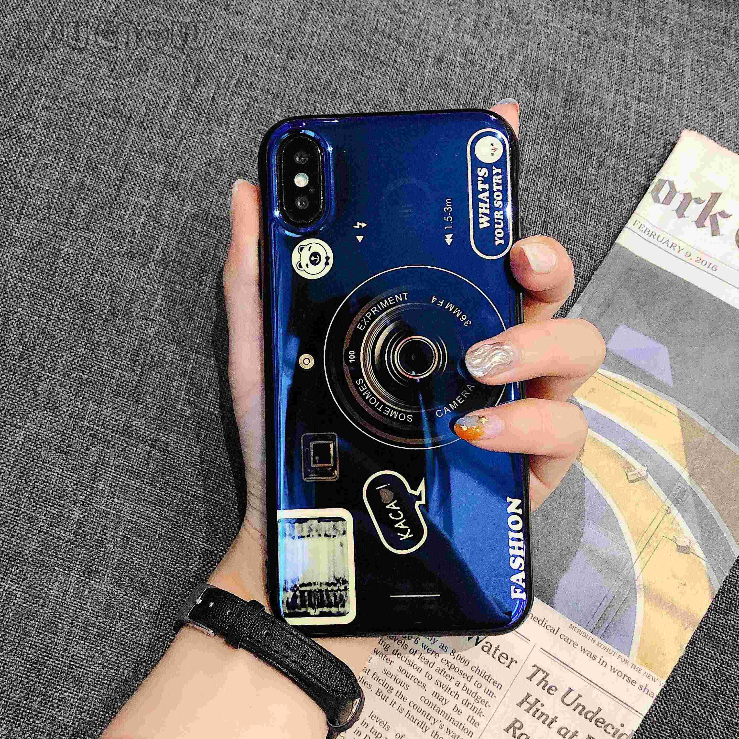buy popular 937a4 6b686 Cover Retro camera Case For Samsung galaxy S8 S9 Plus S7 Edge Note 9 Note 8  Silicone TPU Airbag Blue flash Phone Etui Coque