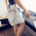 New Solid Crossbody Bag PU Leather Shoulder Bag Leisure Fashion Tassel Bucket Bag for Women  056bag