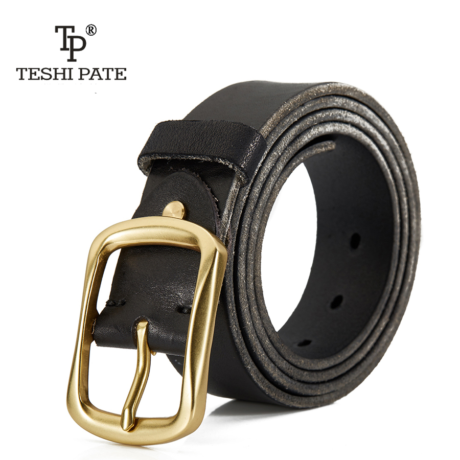 TESHI PATE TP 2018 Top cowhide Pure cow leather hand-wash effect belt man leather vintage jeans with pure copper belt buckle