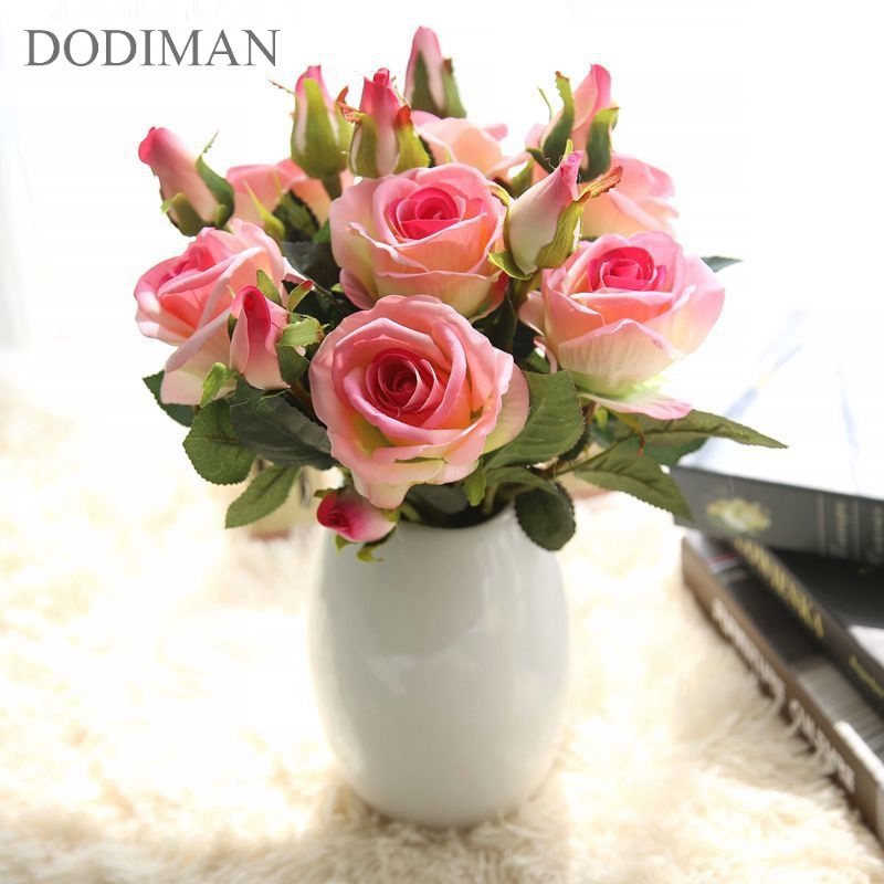 Wedding decoratio high quality artificial flowers Vivid real touch roses Artificial Silk Flower Bride Home Decor 3 HeadsBranch