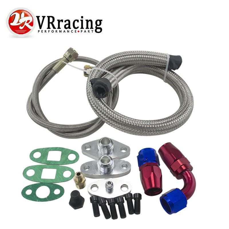 VR RACING - Oil Feed Line Drain Fitting Flange Kit For Toyota Supra 1JZGTE 2JZGTE 1JZ/2JZ Single Turbo VR-TOL22 2017 hot universal racing cold feed induction kit