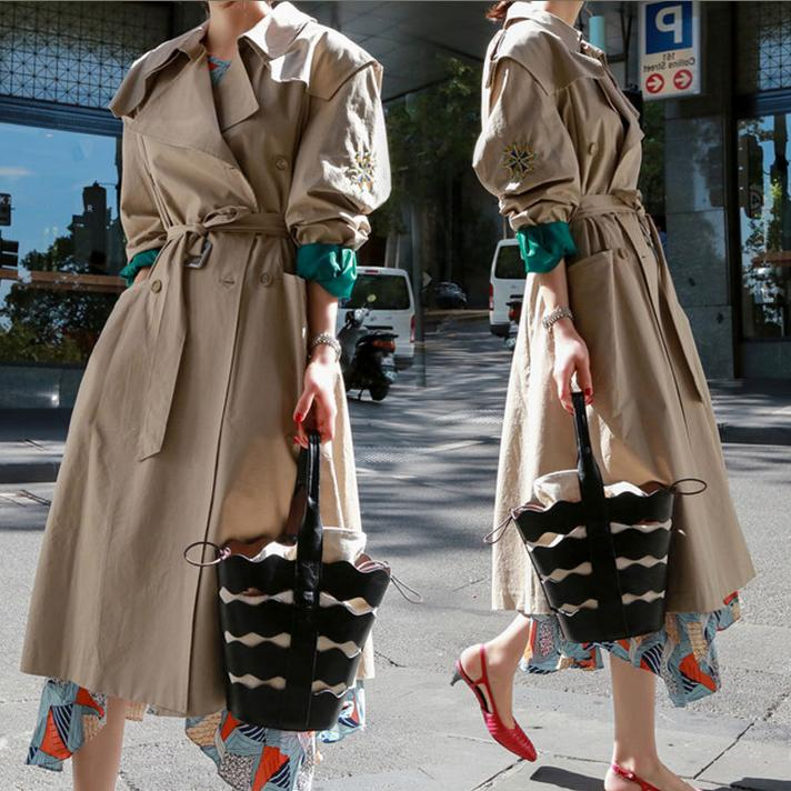 New Windbreaker Coat Women Solid Khaki Long Coat slim waist Double-Breasted Spring beading fashion   Trench   Coat