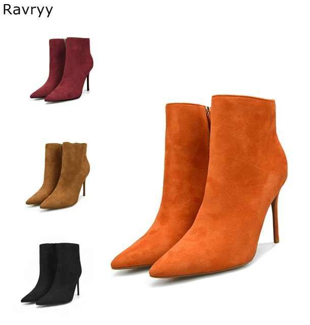Orange women's short boots suede