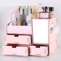 Wooden cosmetics storage box with mirror dressing box storage rack makeup organizer organizador de maquillaje