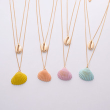 купить Gold Metal Candy Coating Sea Snail Conch Seashell Pendant Necklace Korean Summer Fashion Neck Bridal Party Jewelry дешево