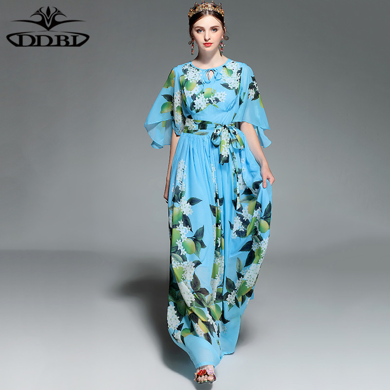 flowers pint blue floral floor dress 2018 new spring high quality maxi dresses for women 171213