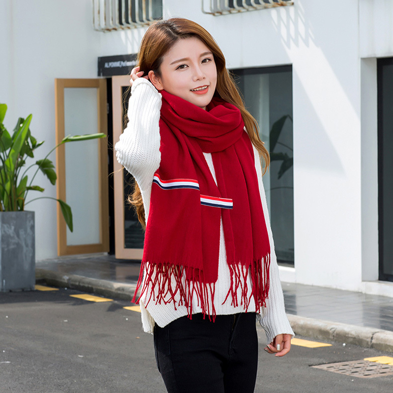 Pashmina Cashmere women tassel red white blue three bars colors solid color scarf couple models ribbon shawl in Women 39 s Scarves from Apparel Accessories