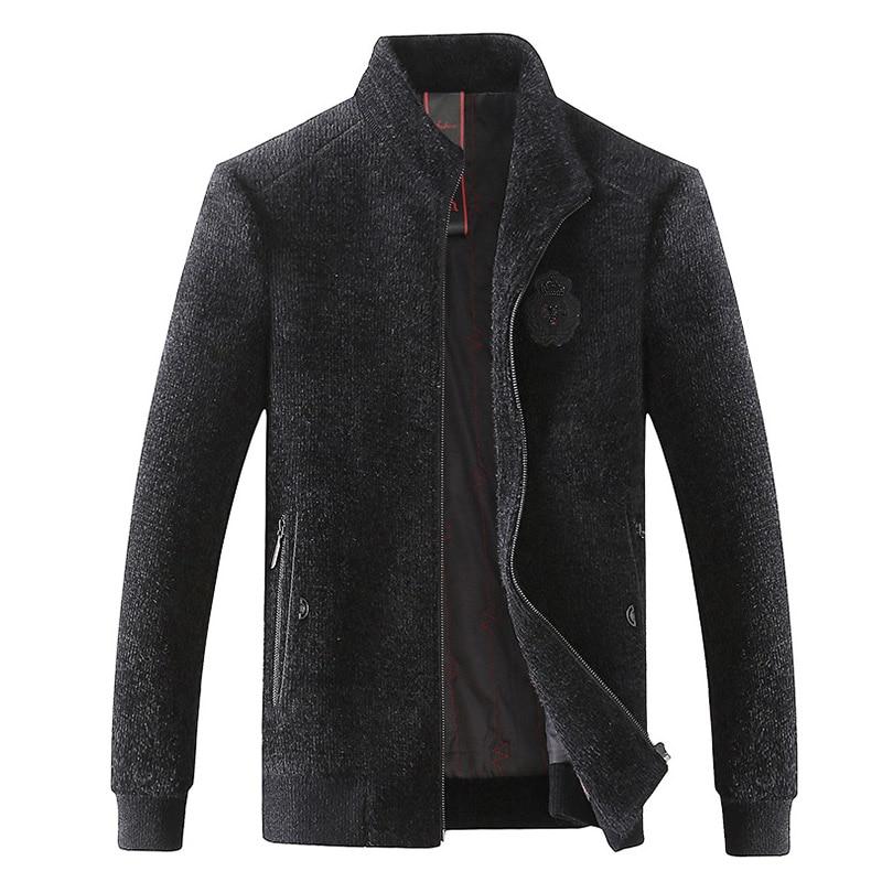 Casual Wool Warm Jacket Men Winter 2018 Long Sleeve Zipper Plus Size Coat Windbreaker Black Men's Fashion Fleece Slim Jacket - 4