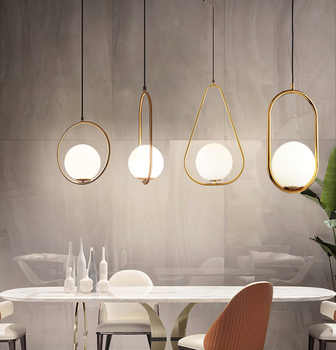 Nordic Chandelier Minimalist Art LED Chandelier Hang Glass Ball Living Room Bedroom Minimalist Restaurant Bar Home Lighting