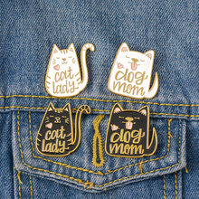 Cute Naughty Cats Dog Mom Lady Couples Collar Pin Badges Brooches Lapel Suit Pin Enamel Party Brooch Backpack Bag Accessories(China)