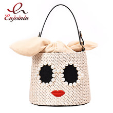 New Pearl Sunglasses Cartoon Design Straw Bucket Shape Women Handbag Shoulder Bag Crossbody Bag Female Pouch Totes Chain Purse(China)