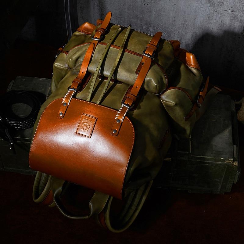 Mens Retro brown Dark Luxus Green light Kuh Military Kapazität Tasche Einfache Leder Green Große Rucksack Stil Reisetasche PaXBq