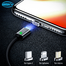 IPSKY USB Cable Magnetic 3 in 1 Fast Charging Wire For Iphone XS Max Cables C LED Cord Xiaomi Redmi Note 7 3in1 Chargers