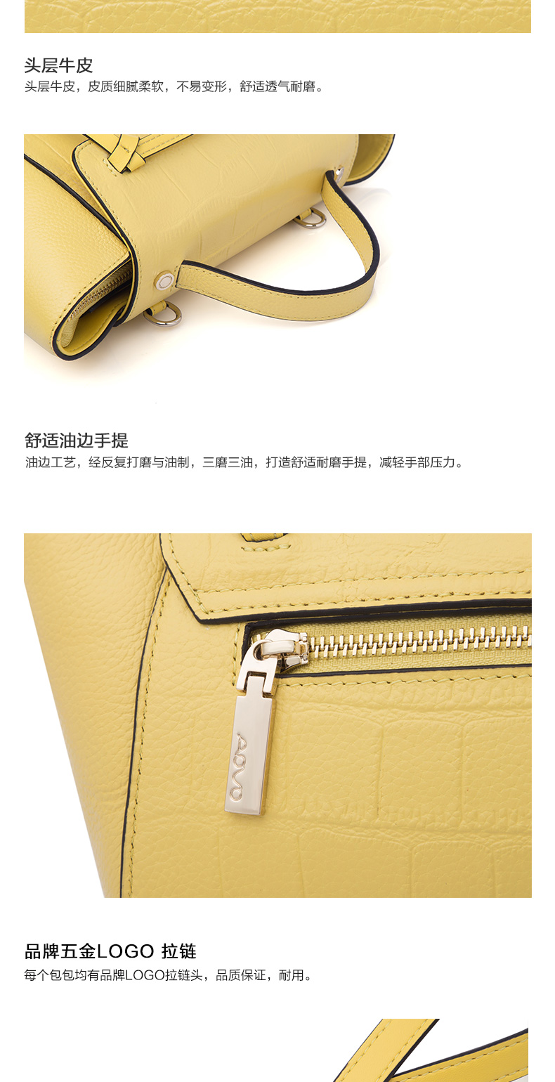 Aovo Luxury Alligator Pattern Genuine Leather Women Handbag Fashion Radiant Backpack Wings Bag Small Catfish Beltbag Casual Yellow Shoulder Bags Usd 7690 Piece