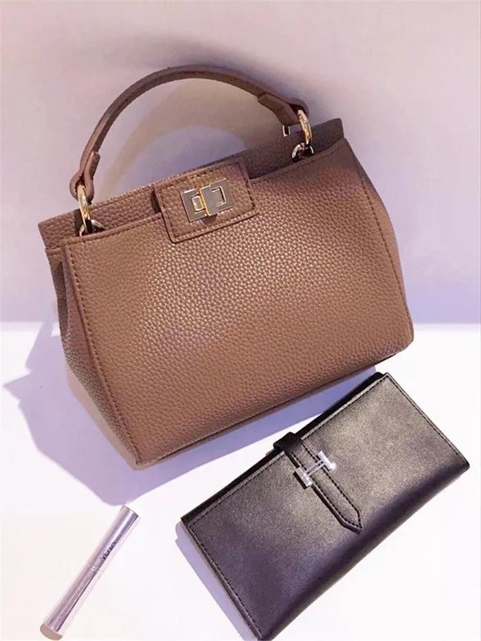 New Women Leather Handbags female handle Litchi ladies messenger bag cat crossbody bag Brand designer handle tote bag for women-in Top-Handle Bags ...