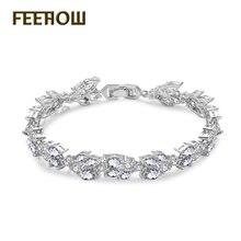 Feehow exquisita Marquise ronda cubic zirconia cadena pulseras brazalete deslumbrante cristal nupcial boda joyería para las mujeres FWBP001